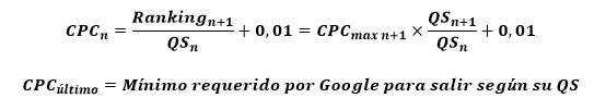 Google AdWords. Fórmula del coste por clic real