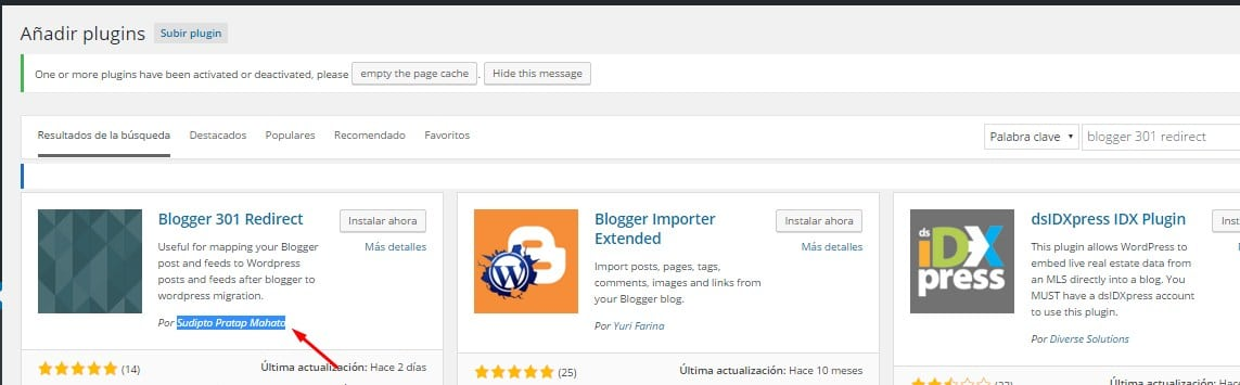 Instalar plugin Blogger 301 Redirect en WordPress