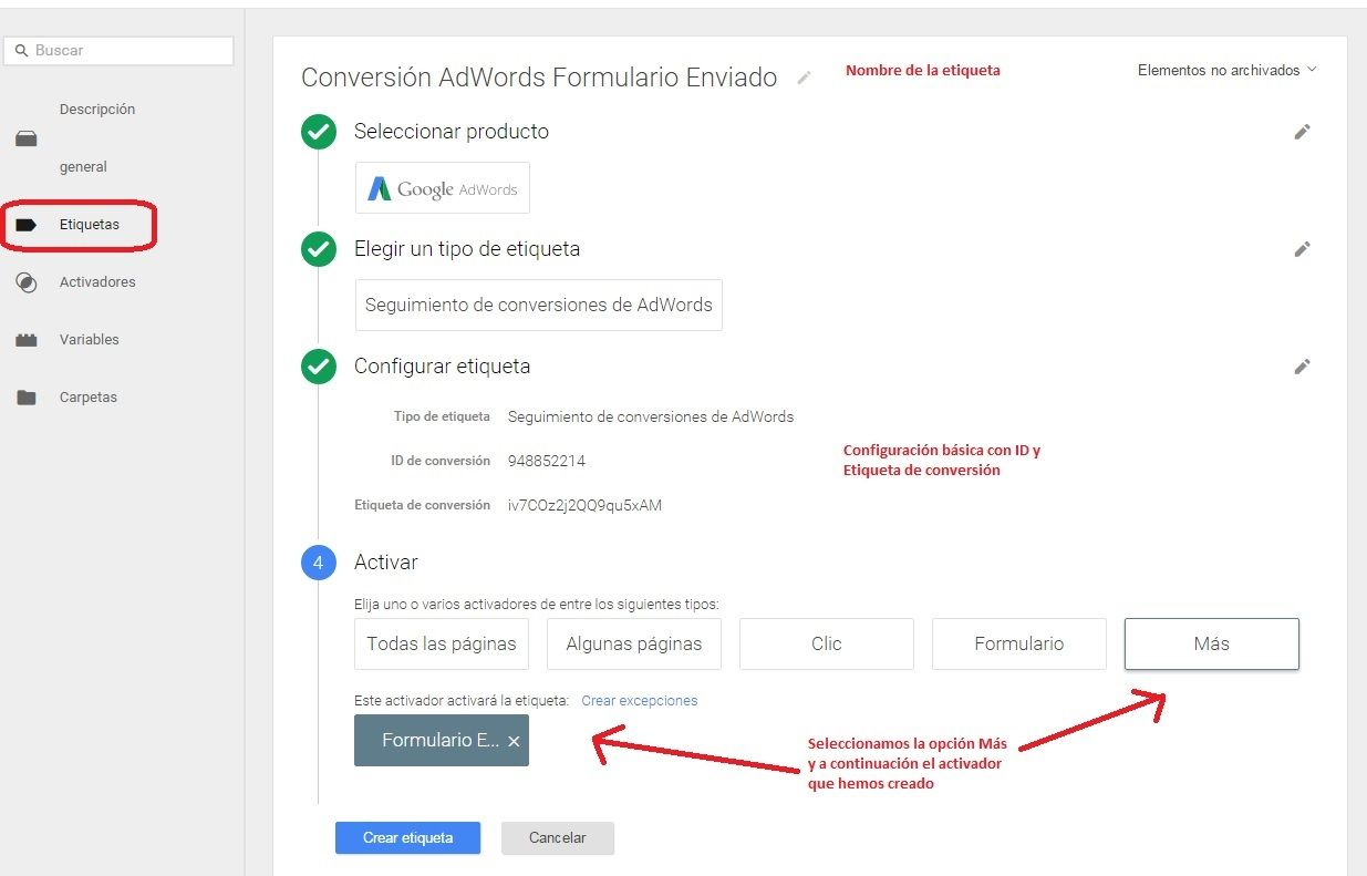 Conversiones Google Adwords a través de Tag Manager