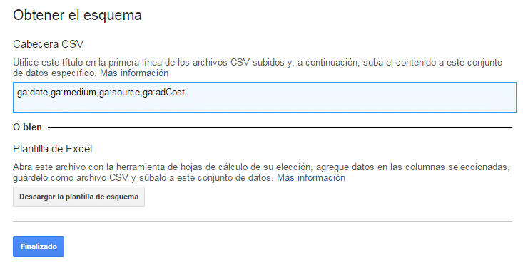 Importar datos de costes en Google Analytics -