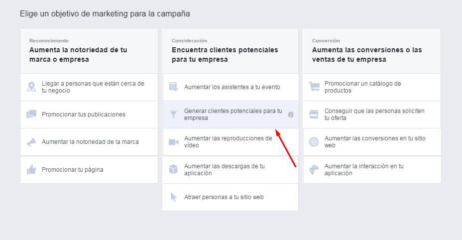 Facebook Leads Ads - Objetivo Lead Generation