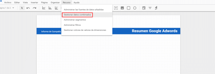 Cómo combinar datos en Data Studio